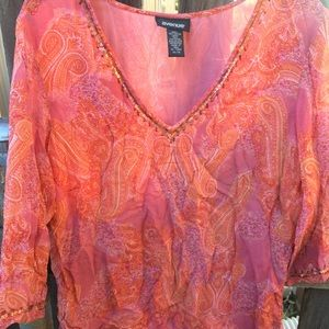 Coral Paisley Blouse w/ Bead Detailing